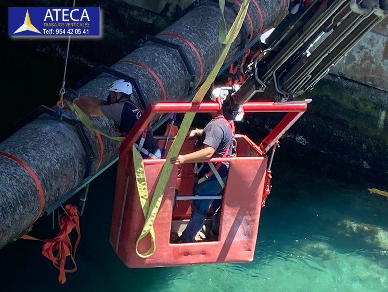 Desmontaje estructura en Ceuta tuberia Agua Puente del Cristo 5