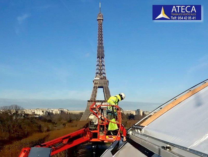 Montaje estructura arquitectura tensil Paris